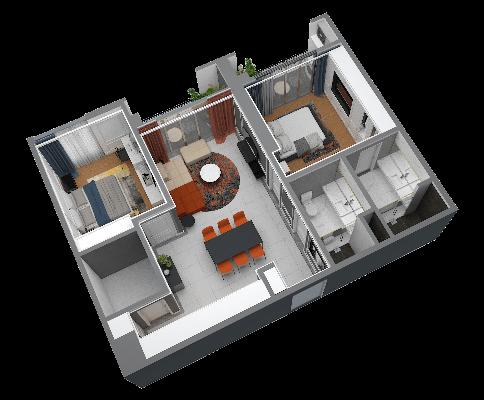 thiết kế chung cư hateco laroma căn ch03