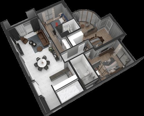 thiết kế chung cư hateco laroma căn ch09