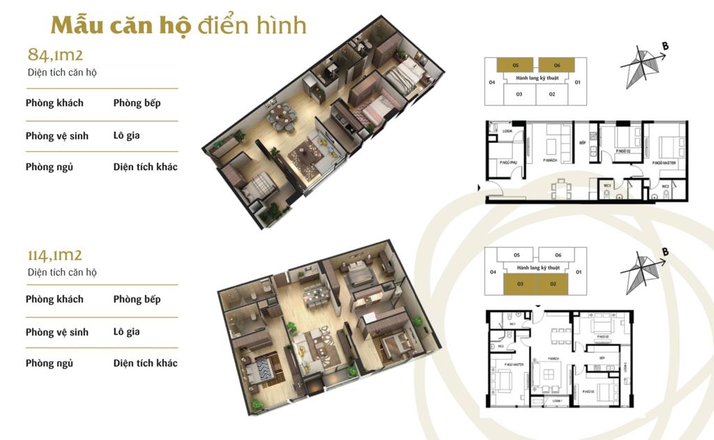 thiết kế căn hộ 3 ngủ chung cư the terra hào nam