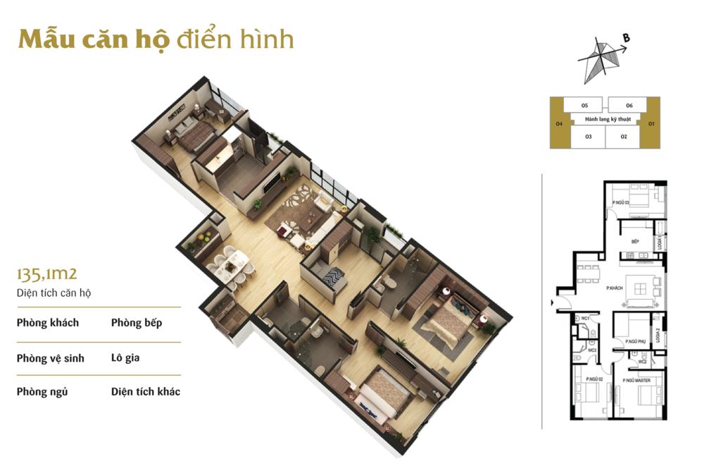 thiết kế căn hộ 4 ngủ chung cư the terra hào nam