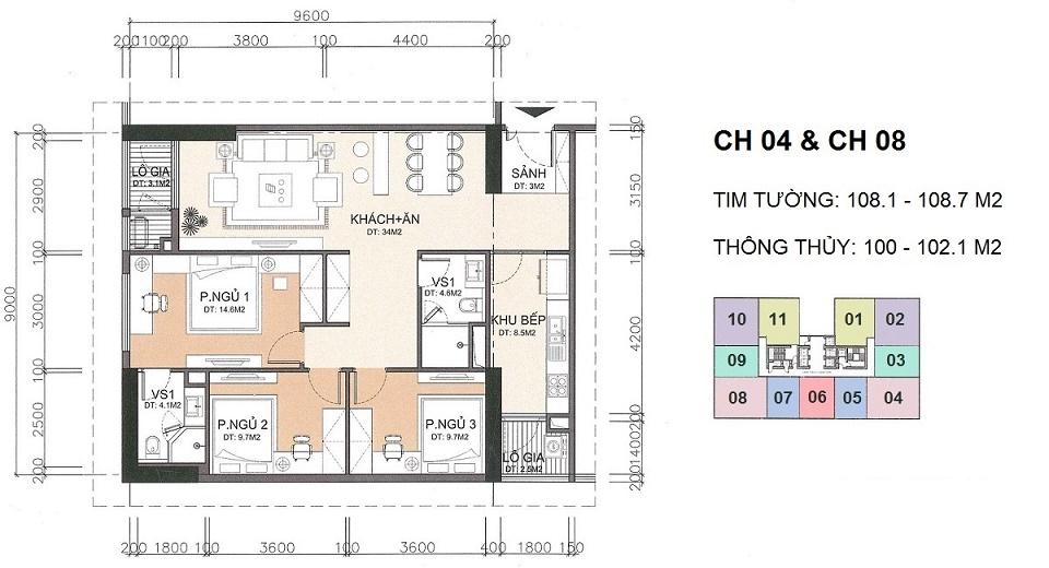 thiết kế căn hộ 102 m2 chung cư a10 nam trung yên