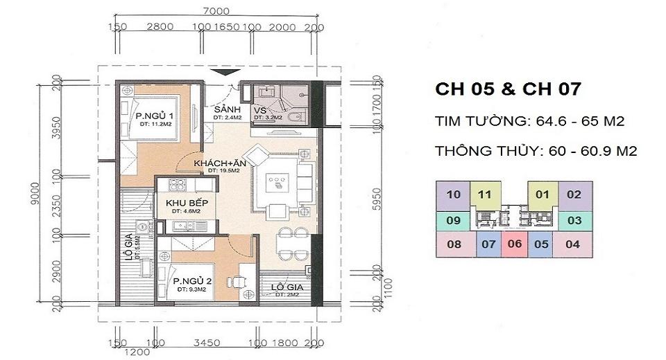thiết kế căn hộ 61 m2 chung cư a10 nam trung yên