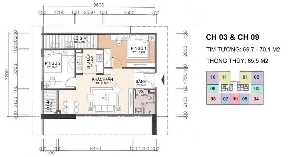 thiết kế căn hộ 65 m2 chung cư a10 nam trung yên