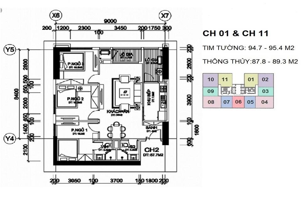 thiết kế căn hộ 87 m2 chung cư a10 nam trung yên