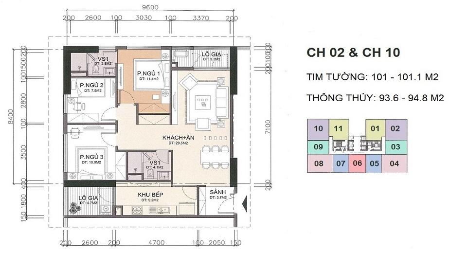 thiết kế căn hộ 94 m2 chung cư a10 nam trung yên