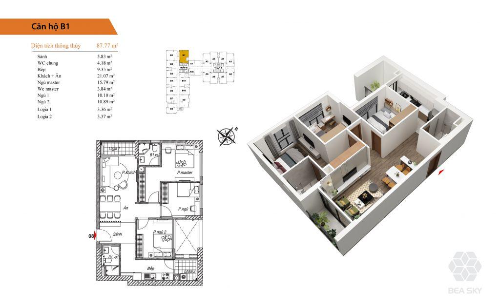 thiết kế chung cư bea sky căn hộ b1