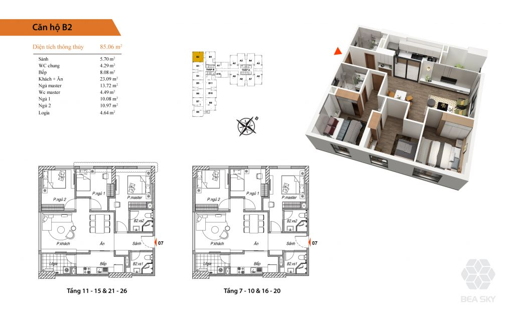thiết kế chung cư bea sky căn hộ b2