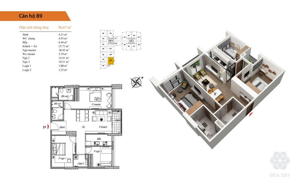 thiết kế chung cư bea sky căn hộ b9