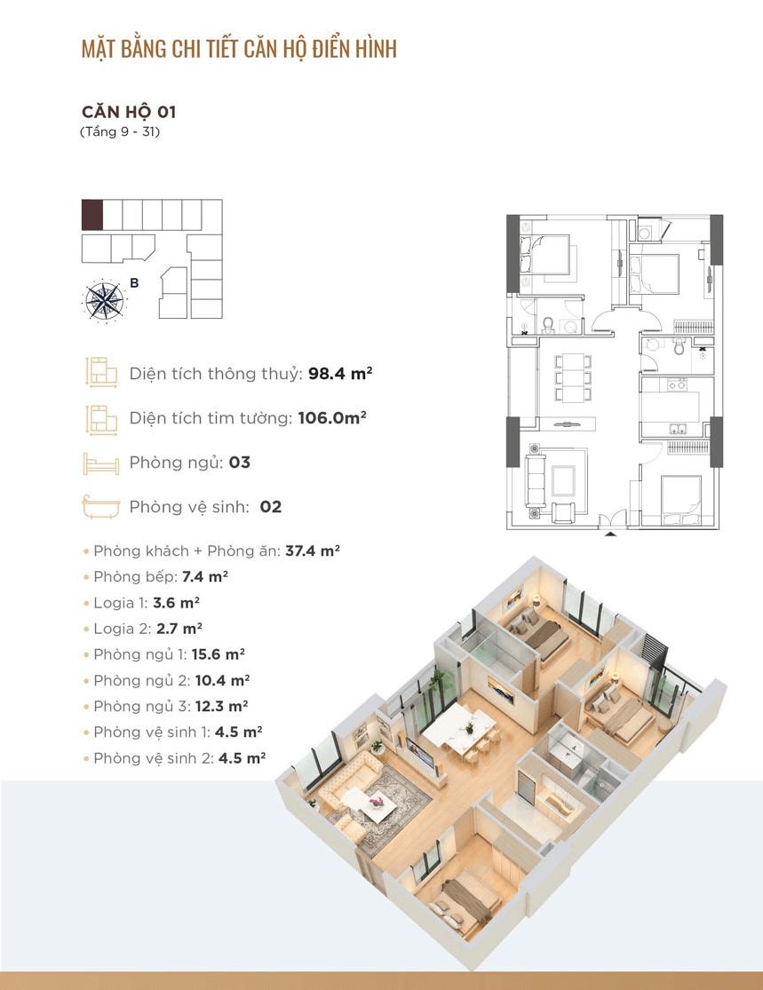 chung cư golden park tower căn hộ 01