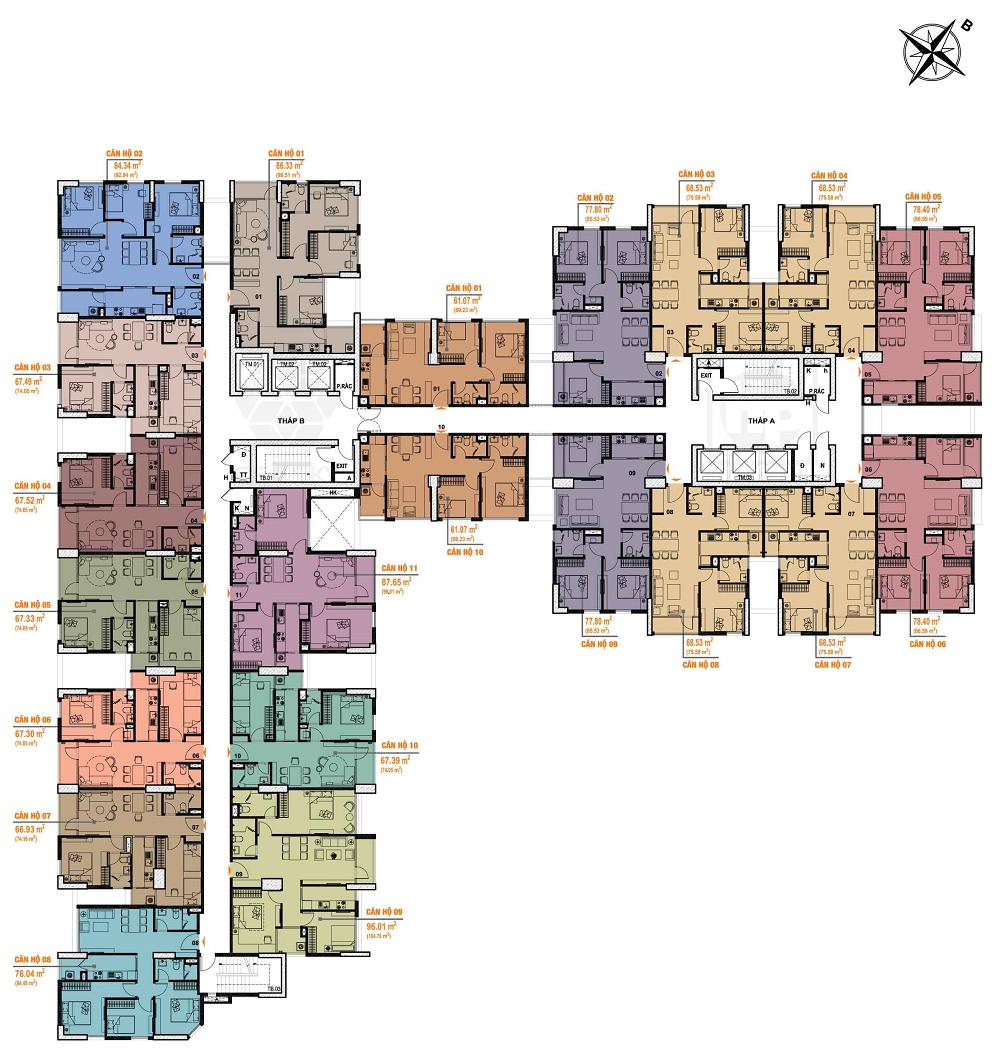 mặt bằng chung cư bea sky tầng 6