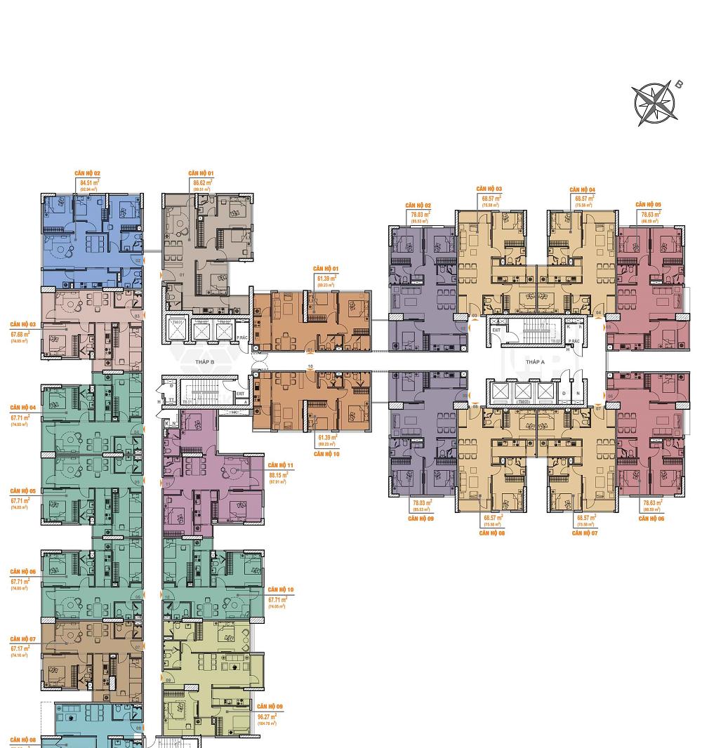 mặt bằng chung cư bea sky tầng 11 – 15 và 21 – 26