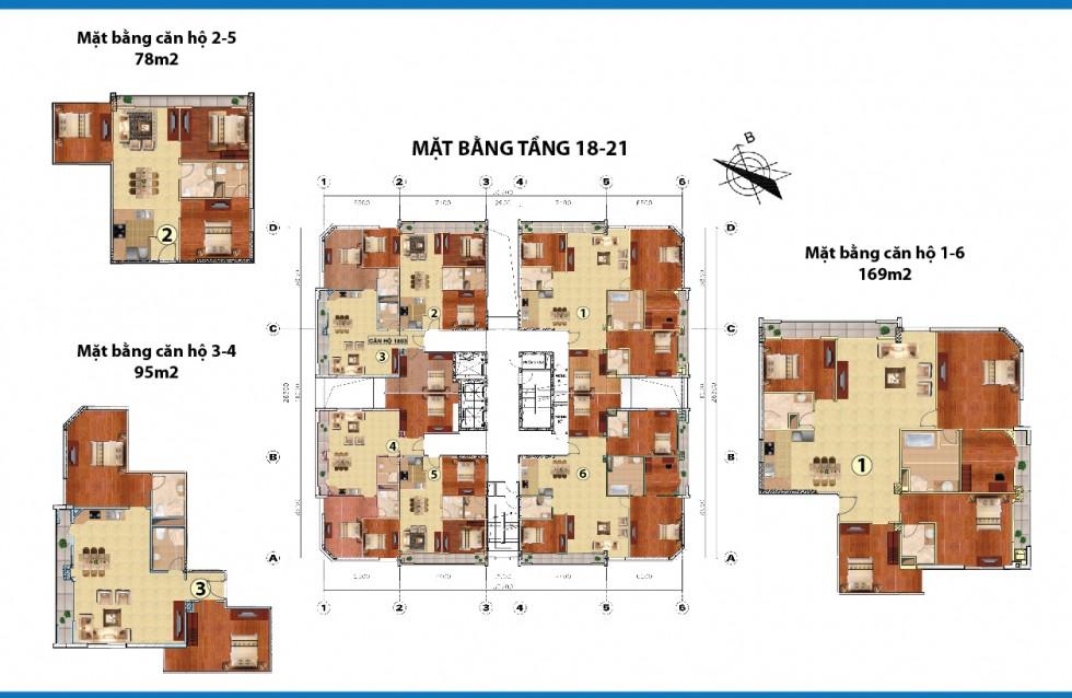 mặt bằng chung cư cowa tower tầng 18-21