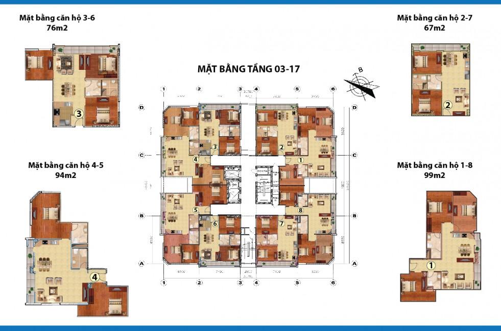 mặt bằng chung cư cowa tower tầng 3-17