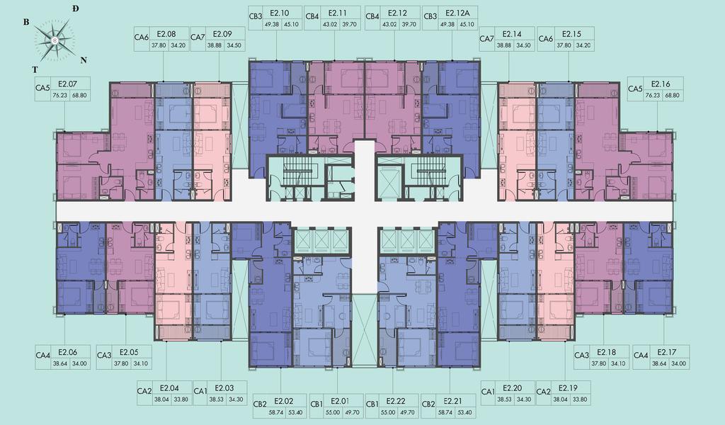 mặt bằng chung cư d el dorado 2 tầng 4-8