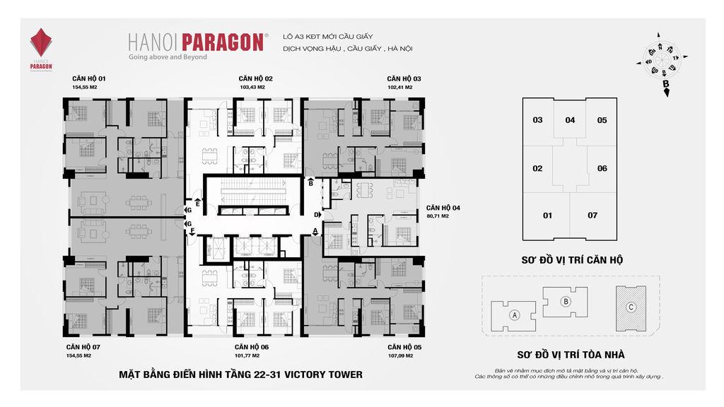 mặt bằng hà nội paragon tòa c tầng 22-31
