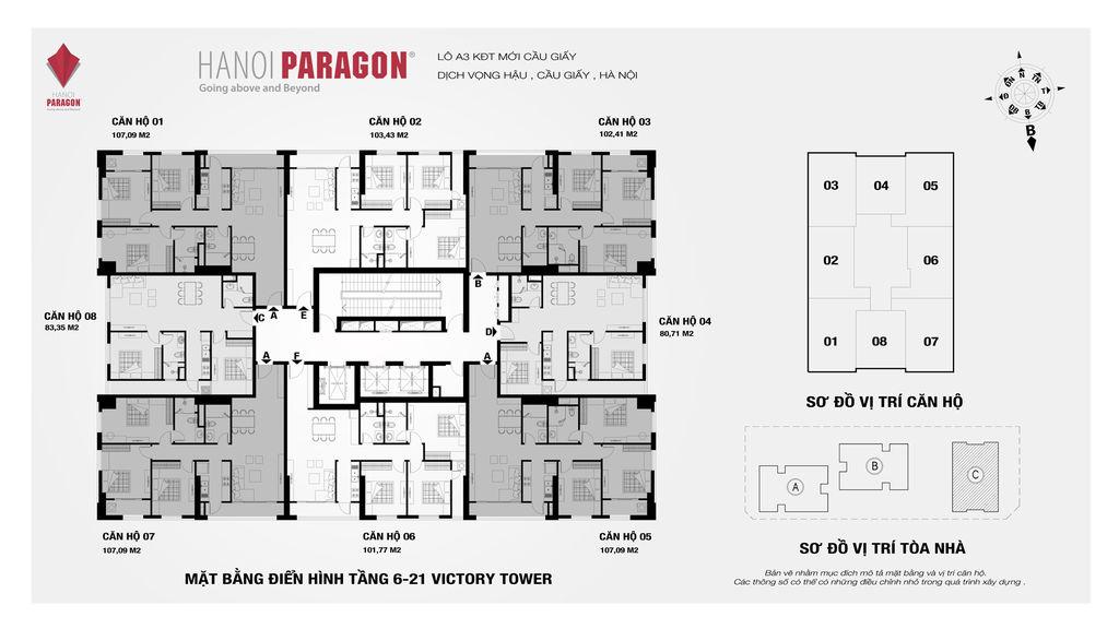 mặt bằng hà nội paragon tòa c tầng 6-21