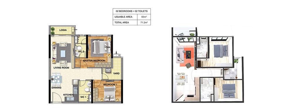 thiết kế chung cư luxury park view căn 2 ngủ