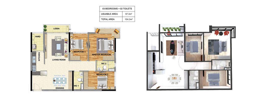 thiết kế chung cư luxury park view căn 3 ngủ