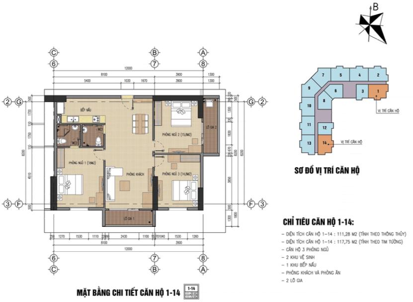thiết kế chung cư thăng long city căn 1,14