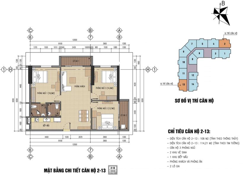 thiết kế chung cư thăng long city căn 2,13