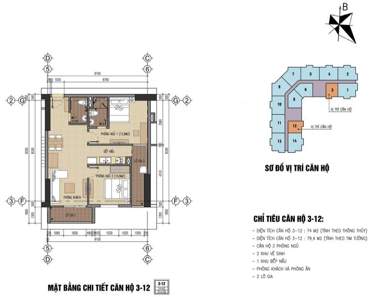 thiết kế chung cư thăng long city căn 3,12