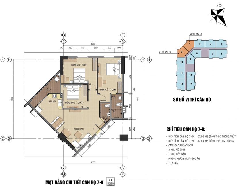 thiết kế chung cư thăng long city căn 7,9