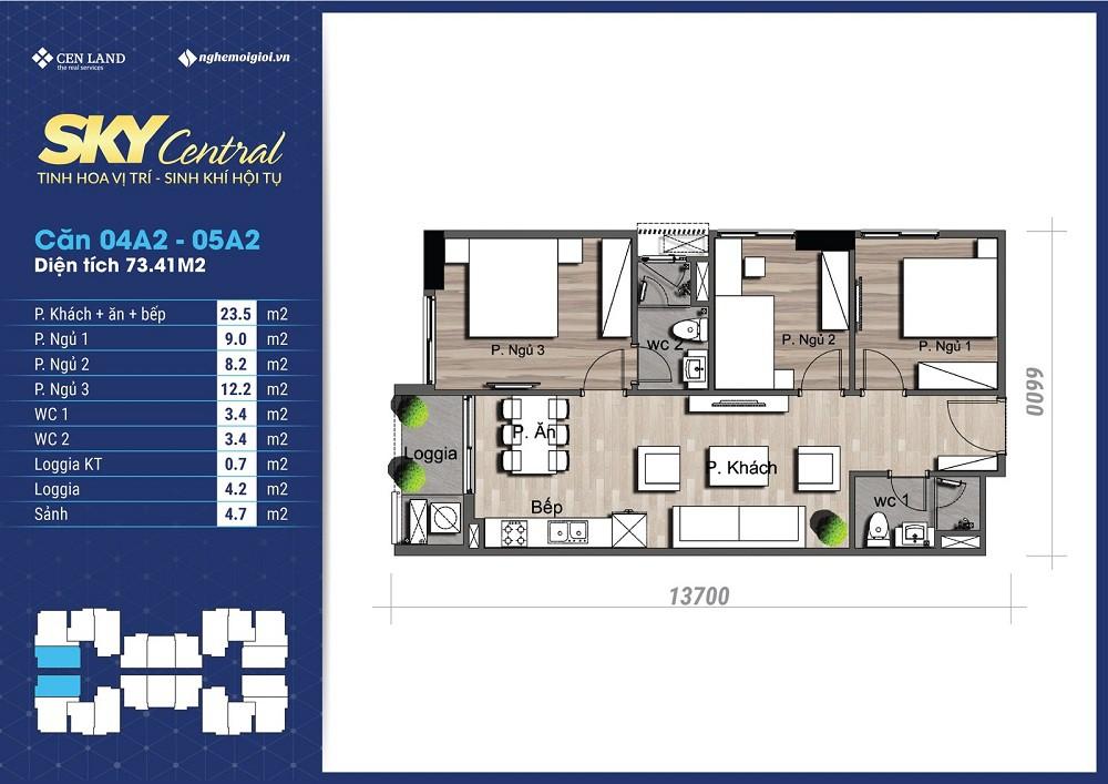 thiết kế căn hộ tòa a chung cư sky central
