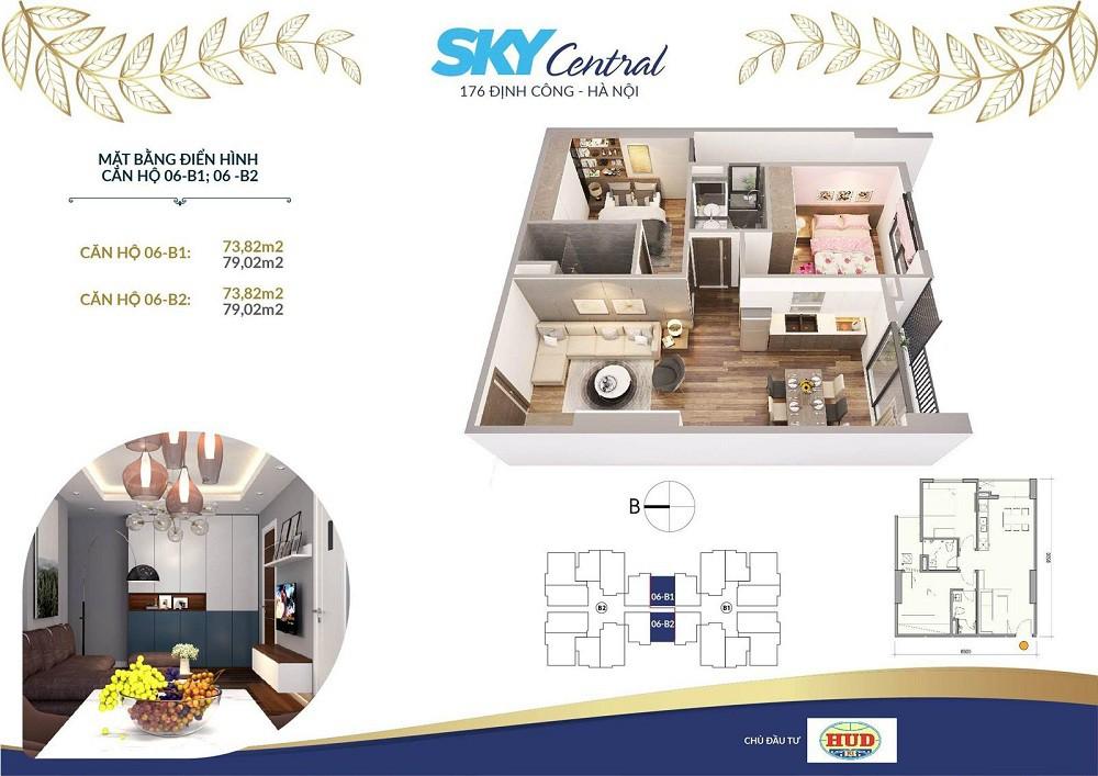 thiết kế căn hộ tòa b chung cư sky central