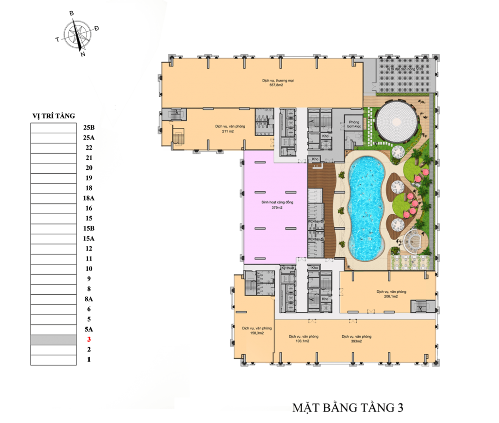 mặt bằng chung cư florence tower tầng 3