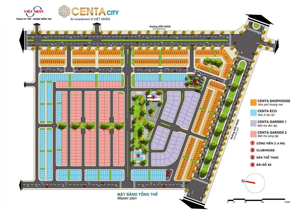 mặt bằng tổng thể dự án centa city