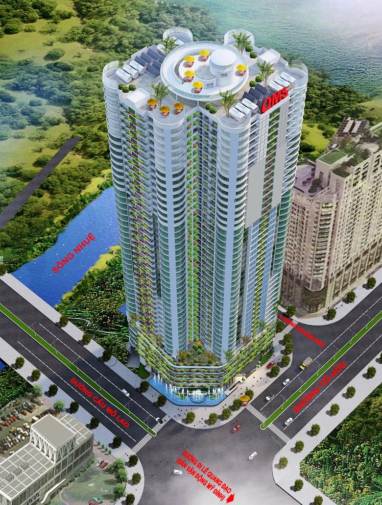 phối cảnh dự án chung cư qms tower 2 tố hữu