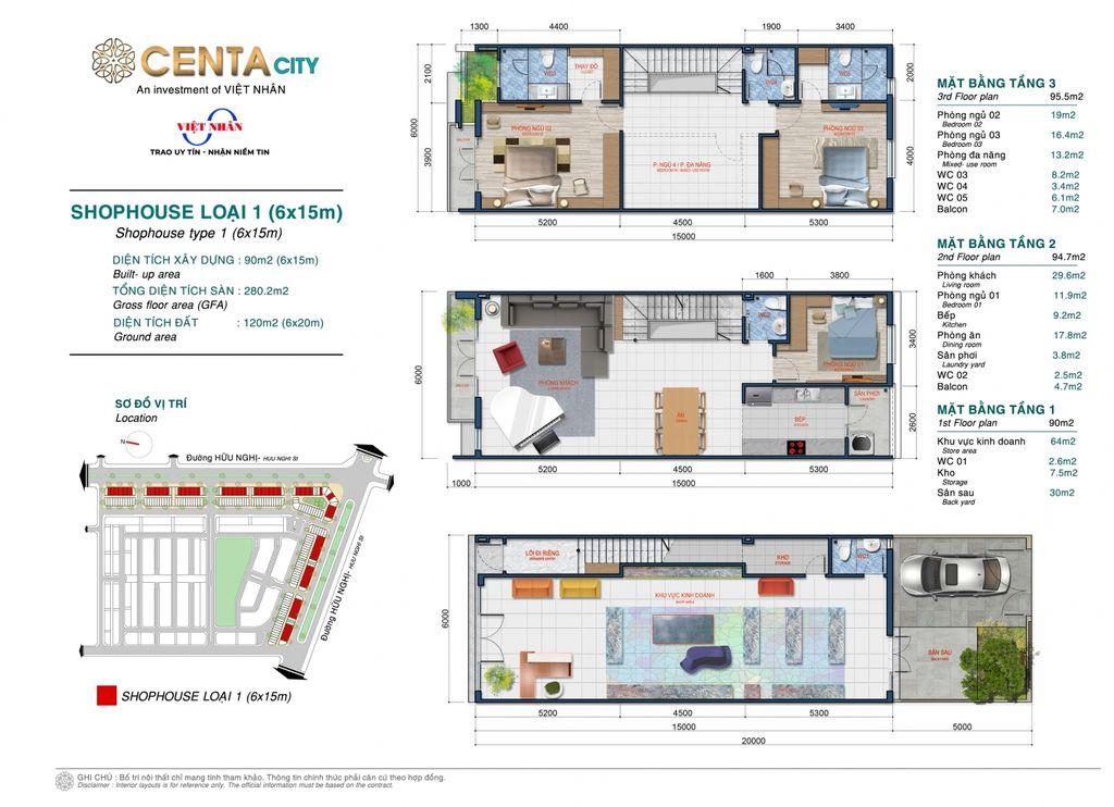 thiết kế shophouse centa city loại 1