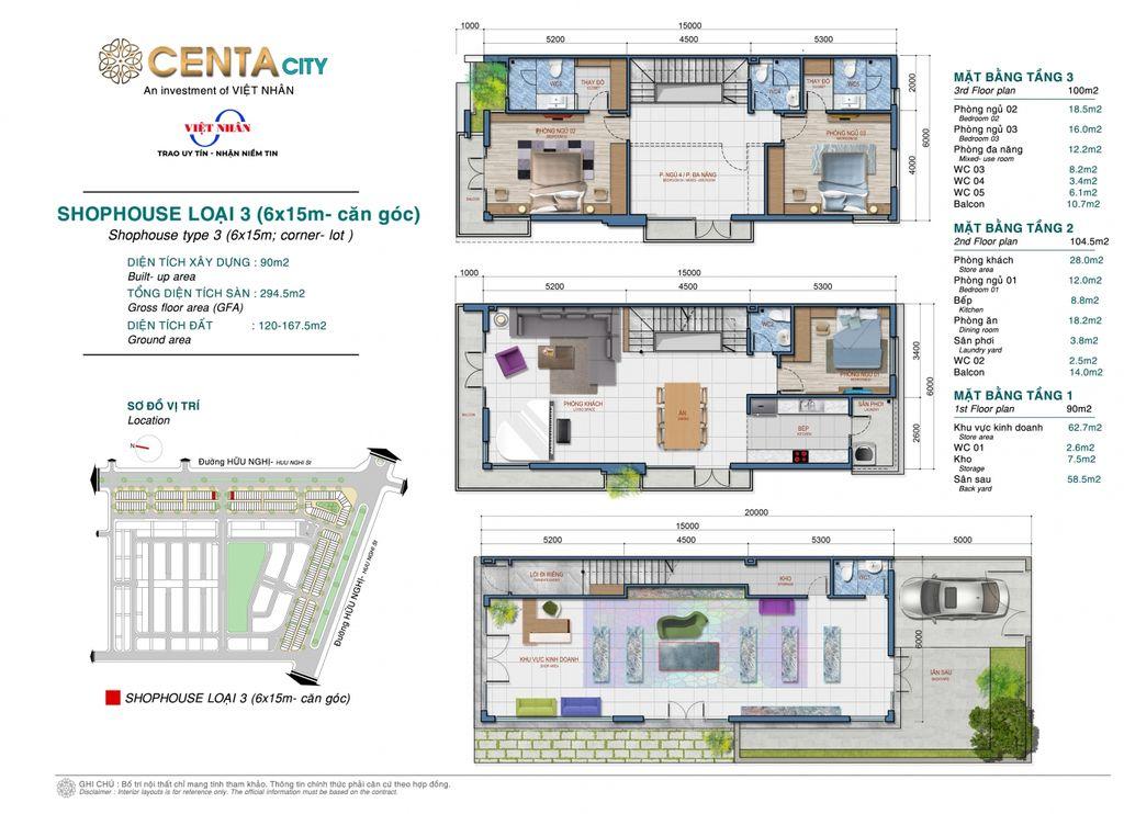 thiết kế shophouse centa city loại 3