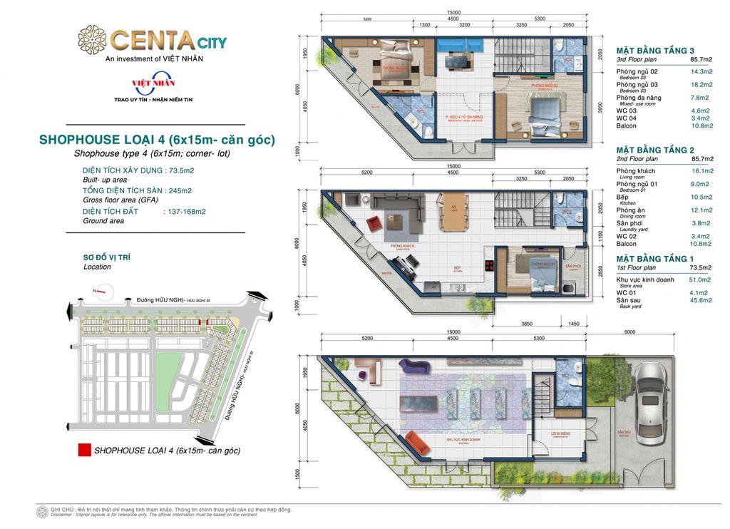 thiết kế shophouse centa city loại 4