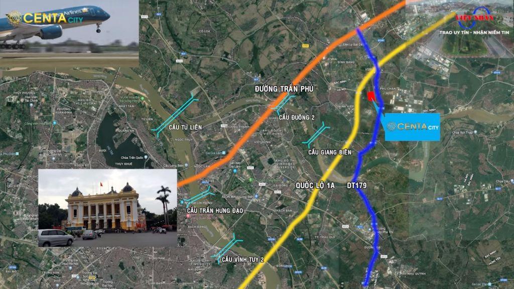 vị trí dự án centa city từ sơn bắc ninh