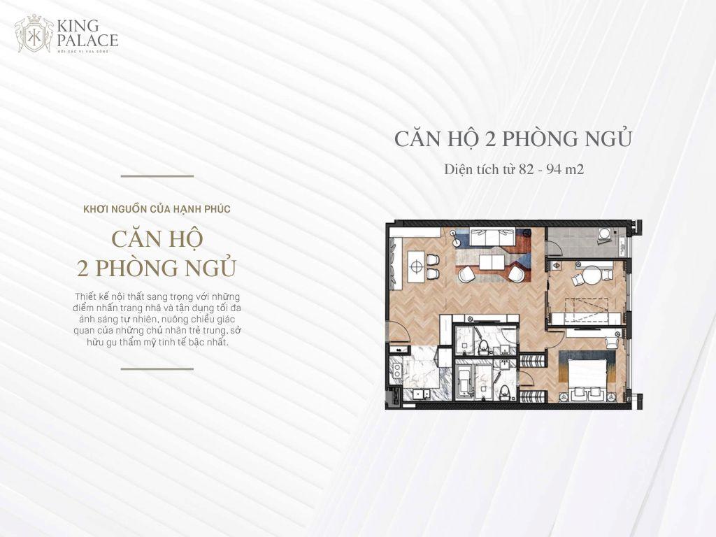 căn hộ 2 phòng ngủ chung cư king palace