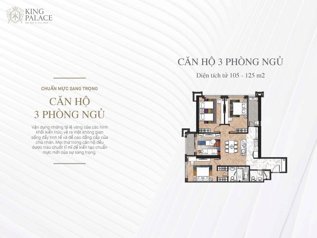 căn hộ 3 phòng ngủ chung cư king palace