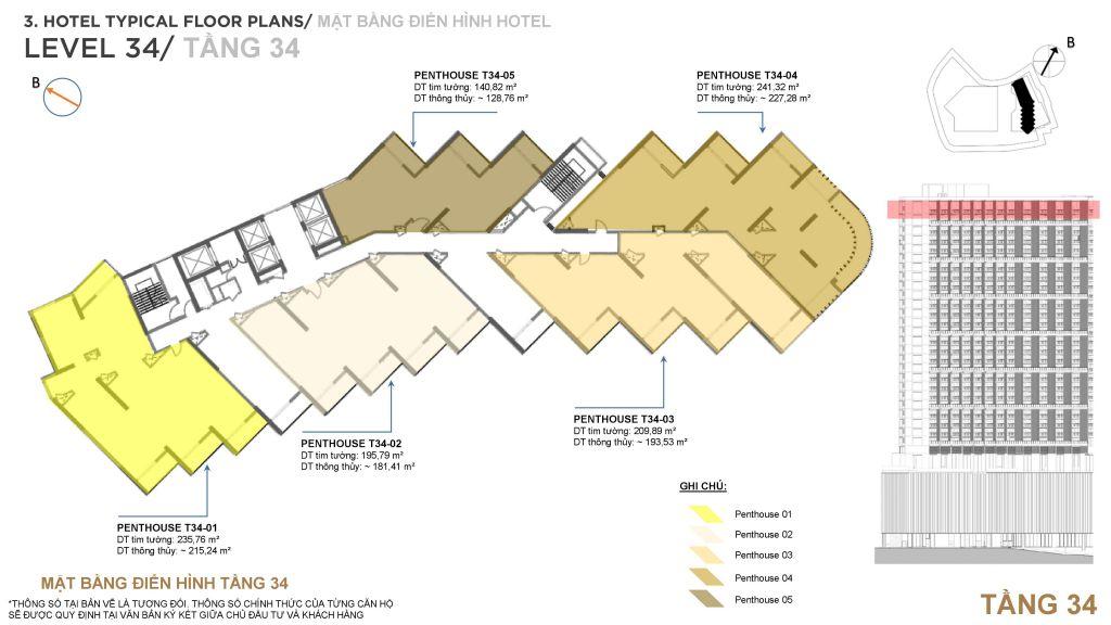 mặt bằng condotel best western plus sail ha long bay hotel tầng 34