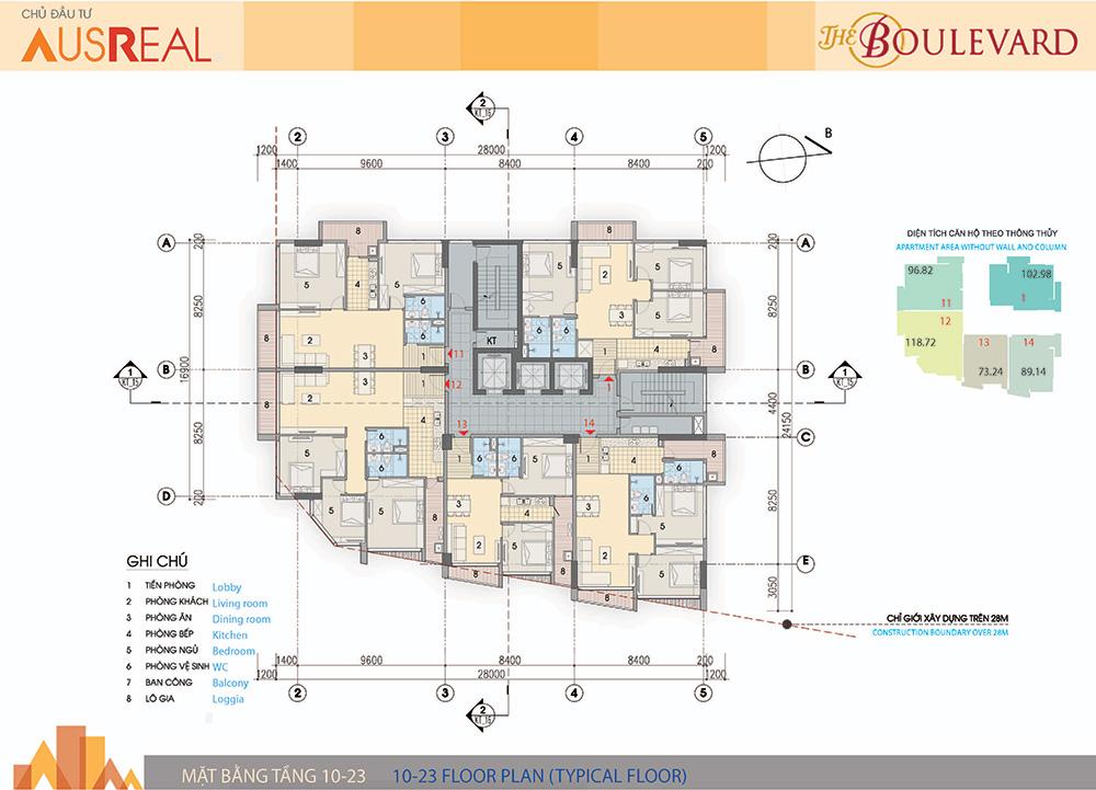 mặt bằng chung cư the boulevard tầng 10 - 23