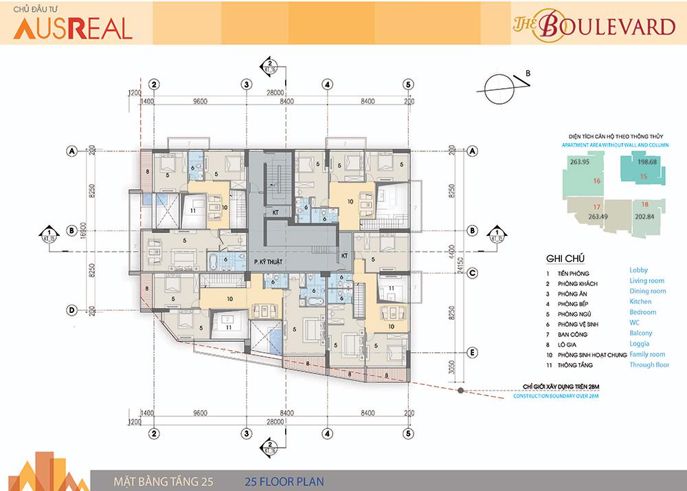 mặt bằng chung cư the boulevard tầng 24,25
