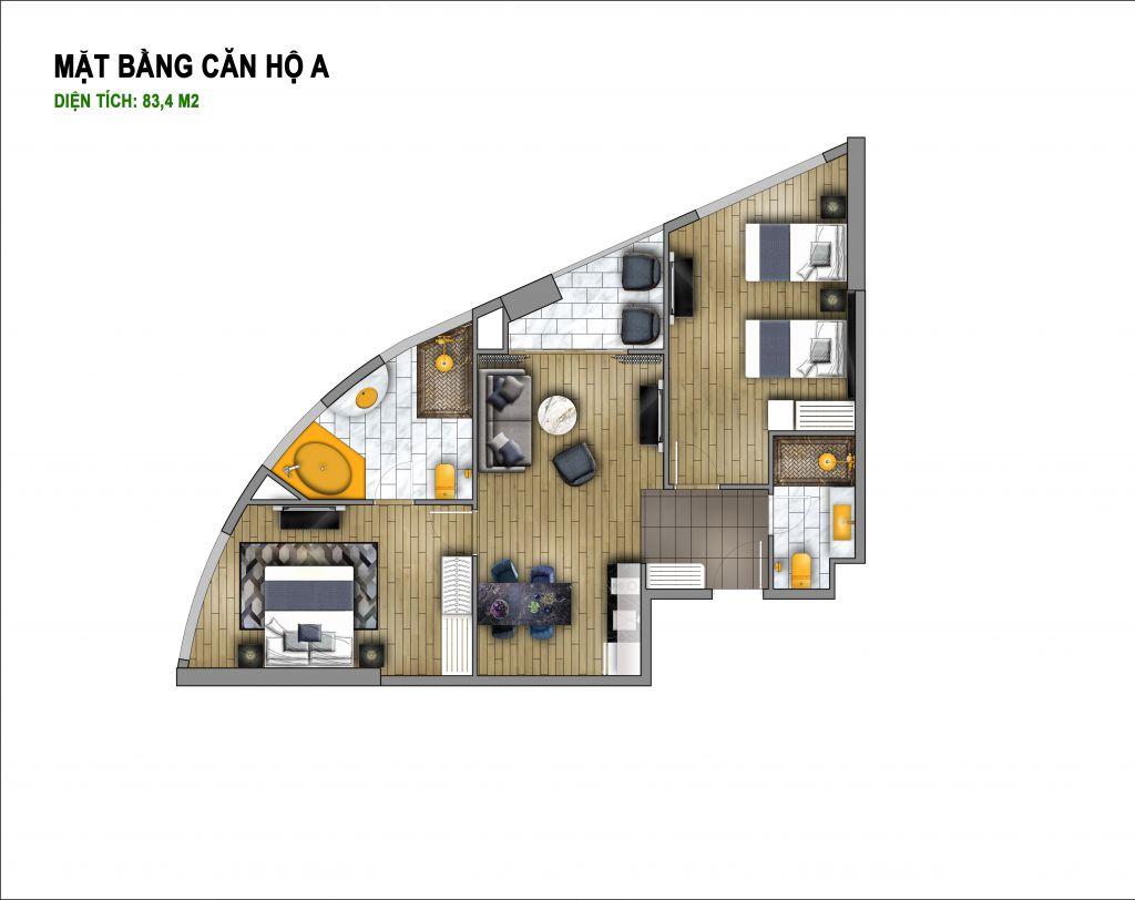 thiết kế hà nội golden lake căn hộ a