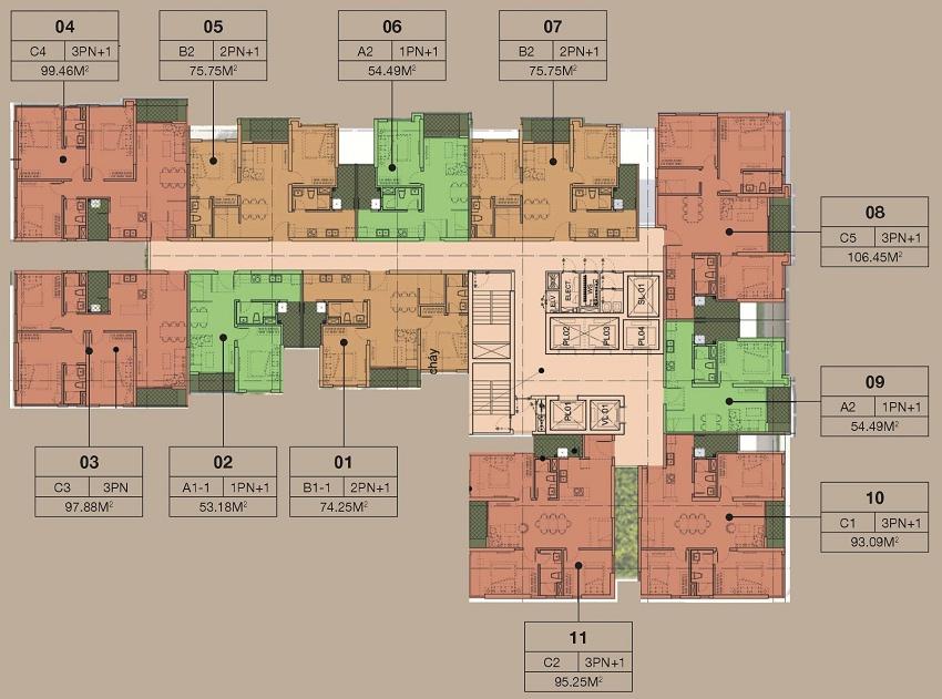 mặt bằng chung cư the zen residence tòa a