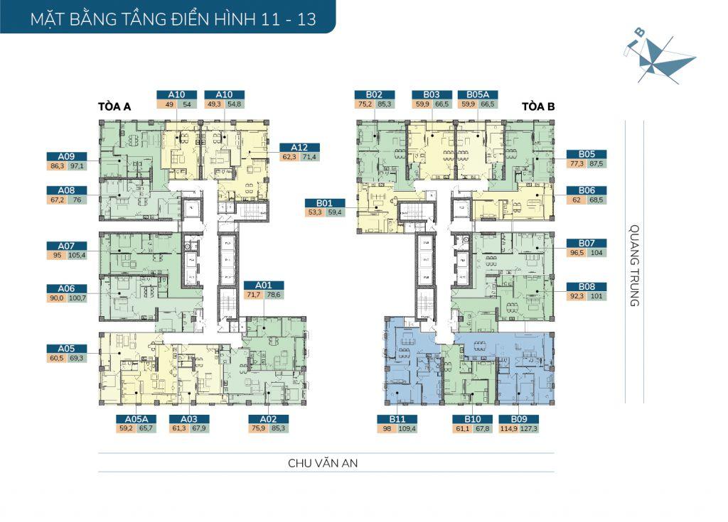 mặt bằng chung cư hatay millennium tầng 11-13
