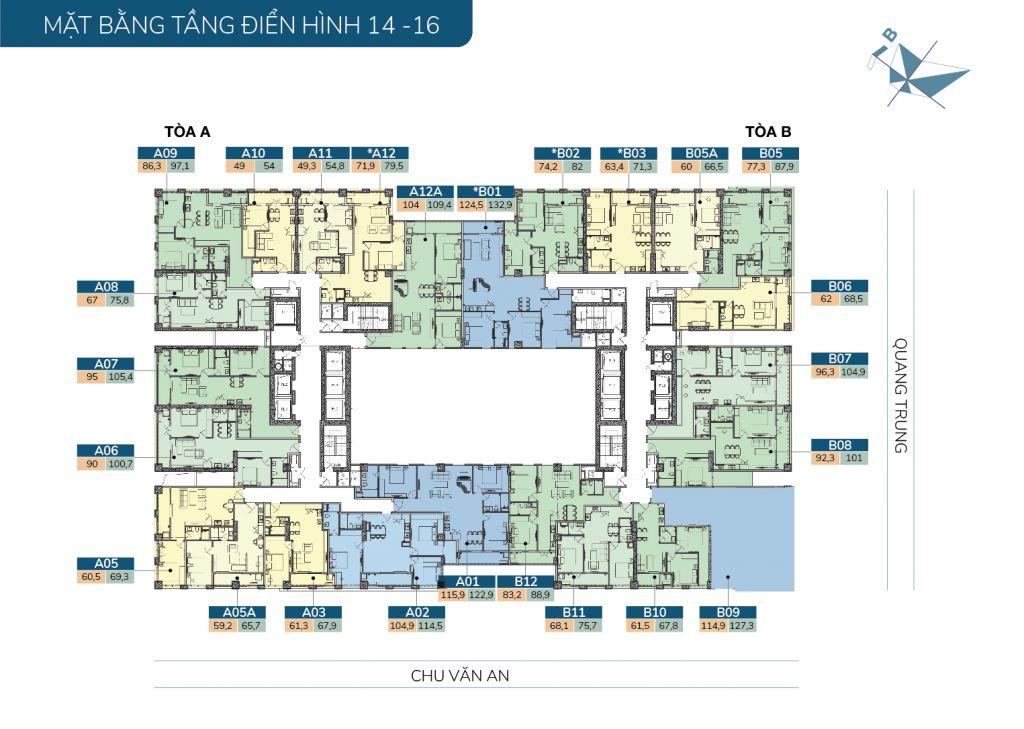 mặt bằng chung cư hatay millennium tầng 14-16