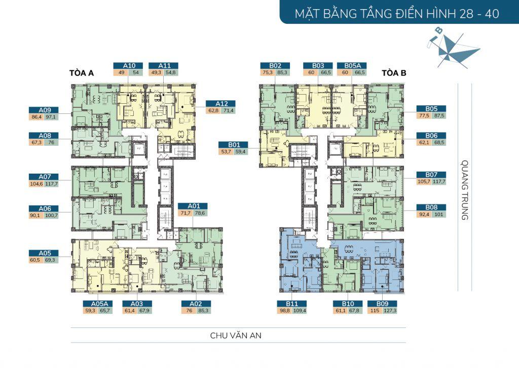 mặt bằng chung cư hatay millennium tầng 28-40