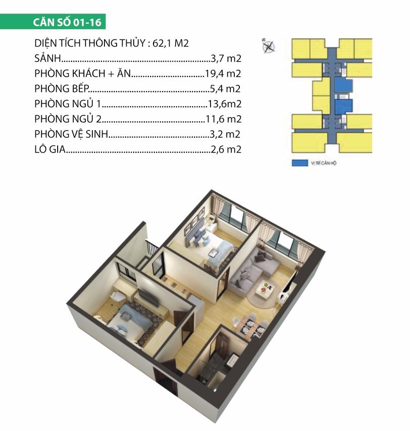 thiết kế chung cư housinco premium căn 1,16