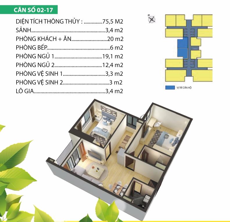 thiết kế chung cư housinco premium căn 2,17