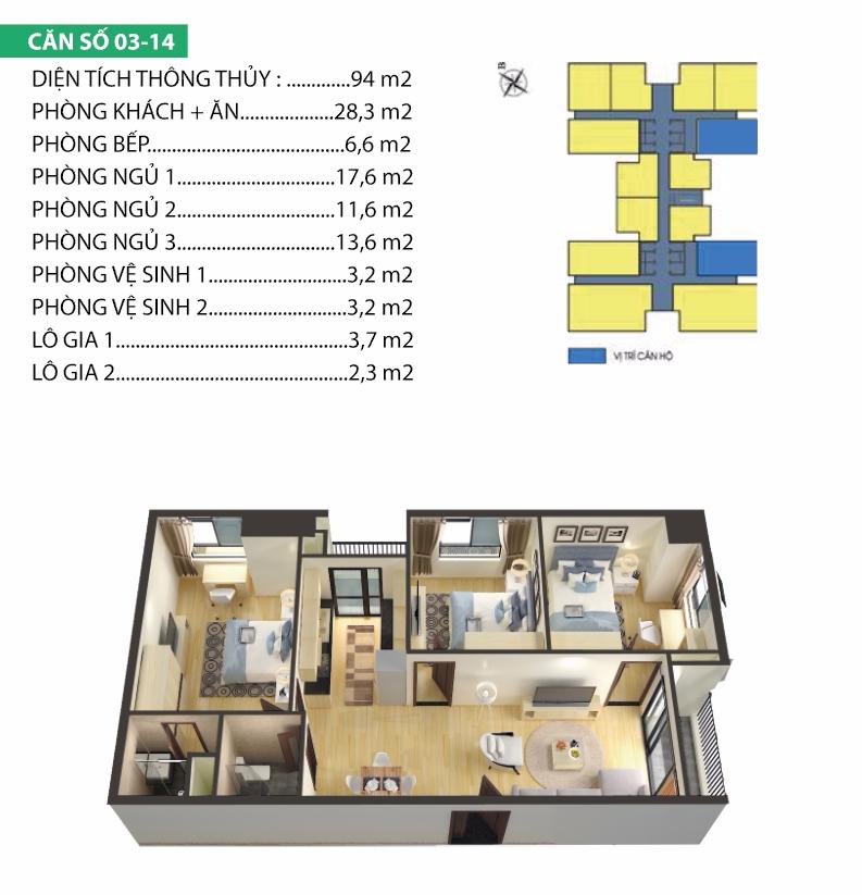 thiết kế chung cư housinco premium căn 3,14