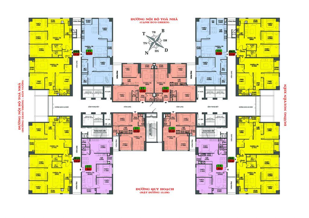 mặt bằng chung cư housinco premium tầng 23 - 27