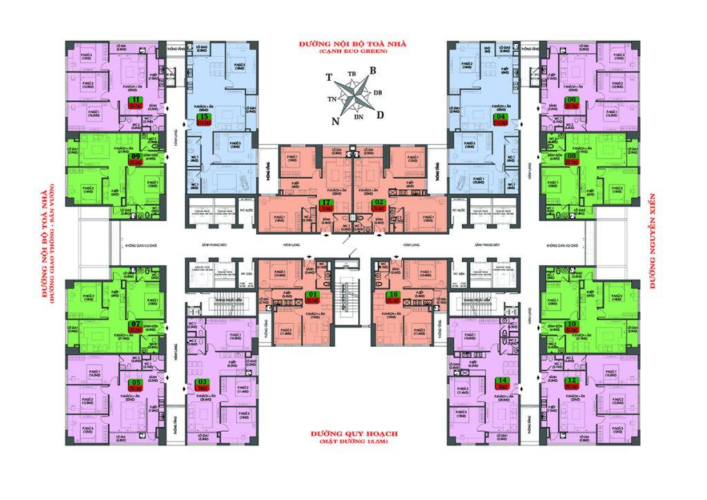 mặt bằng chung cư housinco premium tầng 3 - 7